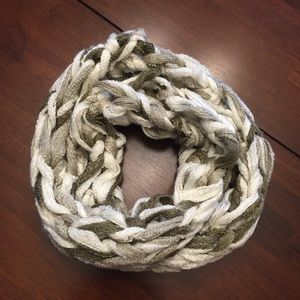 White and brown looped knitted infinity scarf